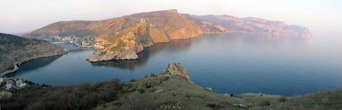 Exit from Balaklava Bay. View of the coast near Balaklava from the bay to Cape Ai-ya. Sevastopol. Crimea royalty free stock photography