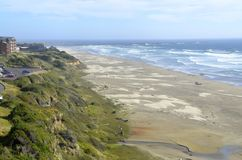 View of the coast in Newport, Oregon. View of the beach and Pacific Ocean from Newport, Oregon Royalty Free Stock Photography