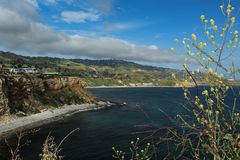 View of the Coast of the Palos Verdes Peninsula, Los Angeles, California. View of the Pacific coast along the Palos Verdes peninsula in southern California royalty free stock photos