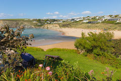 View from coast path to Mawgan Porth north Cornwall England near Newquay and south of Porthcothan and Treyarnon on a summer day w Stock Photography