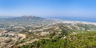 View of the coast of Rhodes island and the Aegean sea from Filerimos mountain. View of the coast of Rhodes island and the Aegean sea from Filerimos mountain stock photo