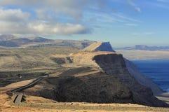 Road on coast Risco de Famara,  Lanzarote, Canary Islands, Spain Royalty Free Stock Photos