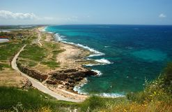 View of coast from Rosh HaNikra,Israel. View of coast from Rosh HaNikra, looking South towards Israel Royalty Free Stock Photo
