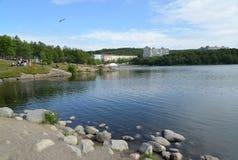 View of the coast of the Semenovsky lake. Murmansk Royalty Free Stock Photography