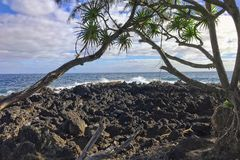 The coastlines of Maui, Hawaii on the road to Hana stock photography