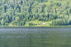 Coast of Teletskoye Lake in Altai Republic. Russia Stock Photo