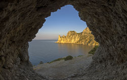 View of the coastal cliffs from a small grotto in the rock. Crim Royalty Free Stock Photo