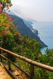 View from coastal hiking path in Cinque Terre Stock Image
