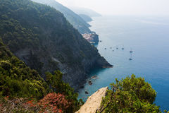 View from coastal hiking path in Cinque Terre Stock Photos
