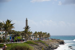View at the coastal promenade in Maspalomas , Gran Canaria,Spain Stock Photography