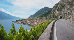 View from coastal road gardesana occidentale to limone sul garda Royalty Free Stock Photos