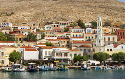 View of the coastal town of Chalki, on Chalki island, Dodecanese, Greece. royalty free stock image
