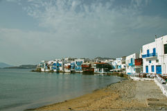 View of Coastal Village in Greek Islands Royalty Free Stock Images