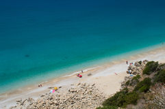 View on the coastline and aquamarine sea water stock images
