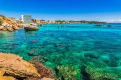Spain Majorca island, beautiful sea view of coast in Cala Ratjada. View of coastline in Cala Rajada, Mallorca, Mediterranean Sea, Balearic Islands stock photography