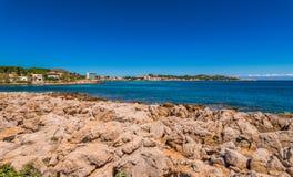 View of coastline in Cala Ratjada on Majorca, Spain. Seaside view of Cala Rajada, Balearic islands, Mallorca Spain Mediterranean Sea stock images