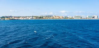View of coastline of City of Rhodes lined with hotels on Elli beach, PANORAMA Rhodes, Greece royalty free stock image