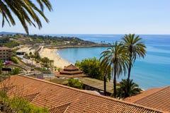 Panoramic view of coast of Tarragona in sunny day, Catalunya, Spain. stock image