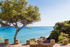 View of the coastline of the Costa Dorada in Miami Platja, Tarragona, Catalunya, Spain. Copy space for text. View of the coastline of the Costa Dorada in Miami royalty free stock photo