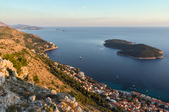 View of coastline in Dubrovnik at sunset Stock Image