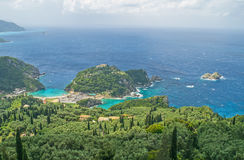 View of coastline from Lakones, Corfu. View from Lakones overlooking the bays of Paleokastritsa on Corfu Royalty Free Stock Photography