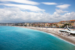 View of the coastline of Mediterranean sea, bay of Angels, Nice, Royalty Free Stock Photos
