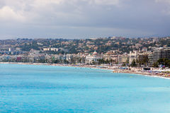 View of the coastline of Mediterranean sea, bay of Angels, Nice, Royalty Free Stock Photography