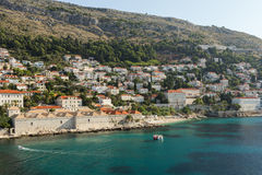 View of coastline and mountain in Dubrovnik Royalty Free Stock Images