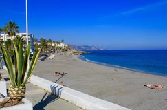 Beach in Nerja royalty free stock images