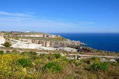 Dingli cliffs during the Springtime, Malta. View of the coastline during the Springtime at Dingli cliffs, Malta, Europe Stock Images