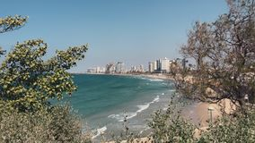 View of the coastline of Tel Aviv stock video footage