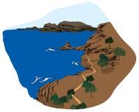 The view of Coastline. Under sky stock illustration