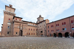 View of cobblestone Piazza Castello in Ferrara Stock Images