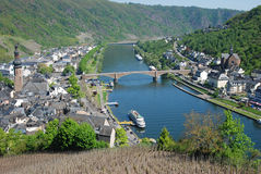 View of Cochem & Mosel river from Cochem castle Germany. View of the Cochem & river Mosel from Burg in germany Royalty Free Stock Photography