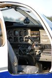 View into the cockpit of a prop airliner Royalty Free Stock Photos