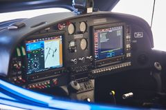 View of the cockpit of a small private airplane.  stock image