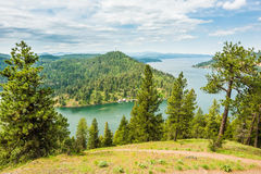 View of Coeur d'Alene lake from mountains Royalty Free Stock Photography