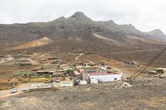 View on Cofete town from small hill, Fuerteventura royalty free stock photo