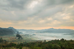View from coffee shop at Phu Langka Mountain. stock photo
