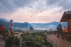 View from coffee shop at Phu Langka Mountain. royalty free stock photo