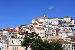 View of Coimbra. With white house and the university, Portugal royalty free stock images