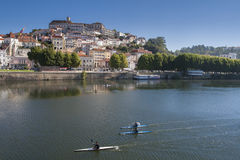 View of Coimbra, Portugal. With some people doing sports Royalty Free Stock Images