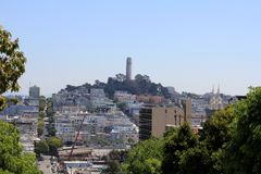 A view of Coit Tower in San Francisco.  Royalty Free Stock Photography