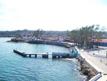 View of the Cojimar Harbor. View of the port, malecon and pier of Bahia de Cojimar 2012 royalty free stock images