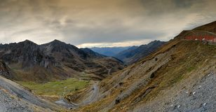 View of Col du Tourmalet Hautes Pyrenees, France. View of Col du Tourmalet in autumn Hautes Pyrenees, France Royalty Free Stock Photo