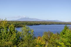 Cole Overlook view across Salmon Stream Lake toward Mount Katahd. View from the Cole Overlook across Salmon Stream Lake toward Mount Katahdin in Baxter State Royalty Free Stock Photos
