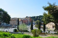 View of the Coliseum in the park in Rome, Italy Royalty Free Stock Photos