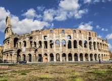 View of the Coliseum in Rome. Sunny day, Italy Royalty Free Stock Photography