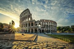 View of Colloseum at sunrise stock photography