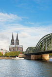 View on Cologne Cathedral in a cloudy day Royalty Free Stock Photos